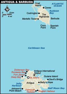 Antigua Map CARIBBEANS Best Places To See Pinterest - Antigua barbuda map caribbean sea