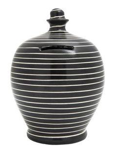 Stripe Money Pot Black and White - C13