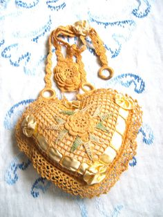 Vintage Crocheted Yellow Gold Heart Hanging by lookonmytreasures