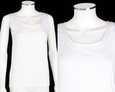 WOLFORD WHITE COTTON BLEND SCOOP NECK SLEEVELESS TOP TANK SZ M #Wolford #TankCami