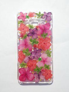 Annys workshop, Handmade phone case, Pressed flowers phone case, Samsung Galaxy A5, Pink Hydrangea