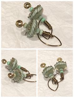 ValVaanaLampwork Handmade Glass Lampwork Beads Earrings Wire Wrap Antique Brass Glass Baby Green Blue Doughnuts with Silvery Roses by ValVaaniaLampwork on Etsy https://www.etsy.com/listing/233225413/valvaanalampwork-handmade-glass-lampwork
