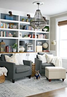 Source: Thrifty Decor Chick-blue backing of shelves and wood top