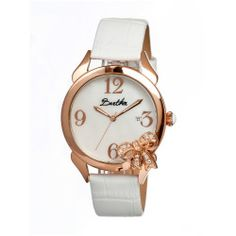 Bertha Bow Womens Mother Of Pearl Dial White Leather Strap Watch Bthbr2105