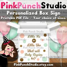Personalized Printable Polka Dot Baby Gender Reveal Shower Party Box Sign 3 Custom Colors Your Choice by PinkPunchStudio on Etsy