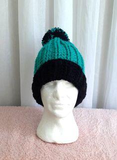 4d526b55a51 Mens Chunky Pom Pom Hat Chunky Beanie Hand Crochet Unisex Winter Hat Women  Men Fashion Accessories Gift Ideas