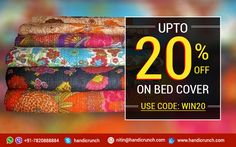 Online bed covers with a great discount on handicrunch. #bedcovers #sale #discount #bedspread #bedsheets