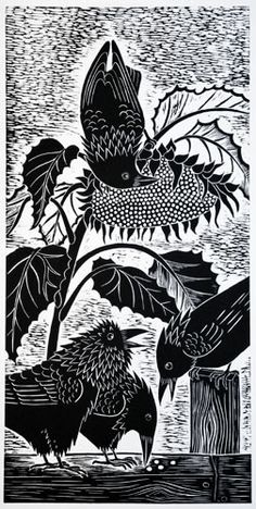 "You was never no locomotive sunflower! ""SunFlower Robbers"" by Dona Reed, Rainshadow Arts Crow Art, Raven Art, Bird Art, Linocut Prints, Art Prints, Block Prints, Illustrations, Illustration Art, Crows Ravens"