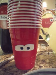Disney Pixar Cars Birthday Party decorations and drinks