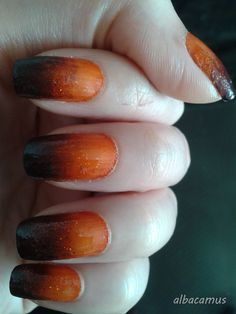 glitter, orange and black ombre nails halloween nails