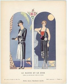 "Dresses for day and night. George Barbier, ""Le Matin et Le Soir - Robes, de mousseline cirée, de Worth,"" plate 47 from Gazette du Bon Ton, No. 6, French, 1924–25."