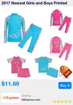 2017 Newest Girls and Boys Printed Flower Swimsuit Bathing Swimming Suit Swimwear Swimsuit Beach Surf Clothing for 3-10Y * Pub Date: 05:15 Apr 9 2017
