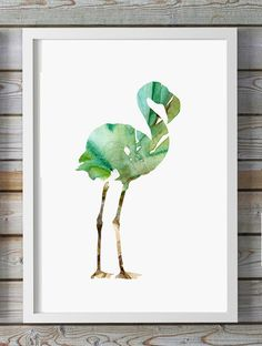 Flamingo watercolor illustration - Print orange Pink - Animal Painting -Abstract  Flamingo art Home decor Wall Decor - Nursery Art by Lemonillustrations on Etsy https://www.etsy.com/listing/222355528/flamingo-watercolor-illustration-print