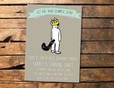 Where the Wild Things Are Birthday Party or Baby Shower Printable Invitation