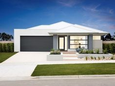 Willow 22 Home Design & House Plan by Homebuyers Centre - Docklands Front House Landscaping, Landscaping Design, Modern Landscaping, Modern House Facades, Modern Houses, One Storey House, Modern Villa Design, Front Yard Design, Australian Garden