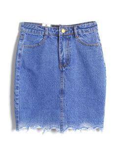 Blue Retro Style Mill White Denim Skirt