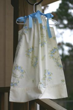 Vintage Pillowcase Dress--Blue Rose Rings