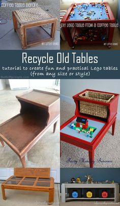 5 DIY Ideas to Recycle Old Tables (like coffee or side tables) into awesome, practical, fun Lego Tables.