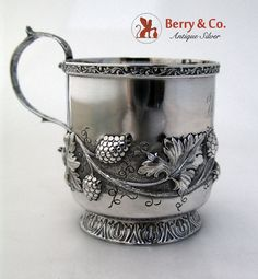 Raspberry Repousse Cup R w Wilson Coin Silver 1835