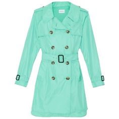 Pre-owned Club Monaco Rose Trench Coat Jacket ($149) ❤ liked on Polyvore featuring outerwear, coats, none, trench coat, blue trench coat, blue double breasted coat, double breasted trench coat and tie belt
