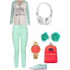 mint green with a dash of redorgange pink