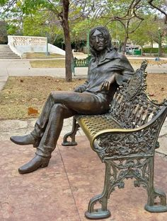 Photo about Statue of John Lennon in a park in Havana, Cuba. He is revered there. Image of imagine, communism, communist - 14664656 Art Sculpture, Bronze Sculpture, John Lennon, Statue En Bronze, Hans Christian, Garden Statues, Public Art, Oeuvre D'art, Cool Art