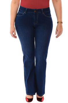 360 Stretch Mid Rise Cropped Flare Denim Jeans in Blue Depths ...