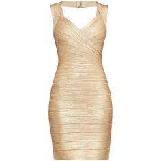 Herve Leger Iman Foil Bandage Dress ($1,350) ❤ liked on Polyvore featuring dresses, bandage cocktail dresses, zip dress, beige dress, hervé léger and bandage dresses