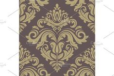 Oriental vector pattern with damask, arabesque and floral golden elements. Golden Pattern, Victorian Design, Damask Patterns, Vector Pattern, Abstract Backgrounds, Swatch, Backdrops, Oriental, Graphic Design