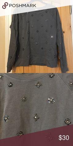 J. Crew Jeweled Sweatshirt J. Crew jeweled sweatshirt in grey. J. Crew Sweaters Crew & Scoop Necks