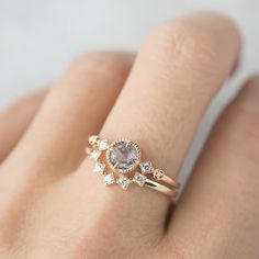 Unique unheated blue sapphire ring set diamond nesting ring