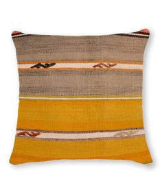 Another great find on #zulily! Gray & Goldenrod Stripe Kilim Cushion #zulilyfinds.  52.99  FAVORITE