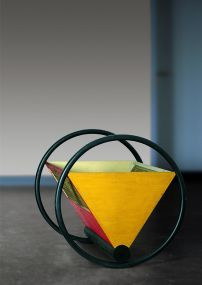 Peter Keler, Wiege, 1922 Weimar Classics Foundation (N 24/63) In 1922, the Bauhaus apprentice Peter Keler, who was just 20 years old at the time, was inspired by his teacher Wassily Kandinsky to design the so-called Bauhaus cradle. This utilises the primary colours of yellow, red and blue and the triangle, square and circle forms that Kandinsky assigned to each of these respectively. The cradle was presented at the 1923 exhibition at the Haus am Horn.