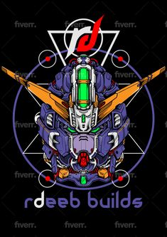 Draw a custom gundam head illustrations in detail by Atrians Gundam Head, Branding Design, Logo Design, Custom Gundam, Custom T, T Rex, Sacred Geometry, Portfolio Design, Vector Design