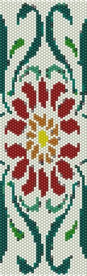 BPRF0001 Red Flower 1 Even Count Single Drop Peyote Cuff/Bracelet Pattern