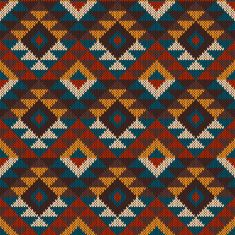 Tribal Aztec Seamless Pattern on the wool knitted texture vector art illustration