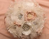 SOLD Customer Order: Rustic Fabric Wedding Bouquet, with brooches - Sample for Callen