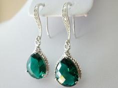 Green Earrings - Green Teardrop Earrings Glass Crystal - Wedding Earrings - Bridesmaids earrings - Zirconia Ear wires. $26.00, via Etsy.