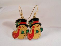 Vintage Snowman Earrings So adorable FREE by AprilSnowJewelry, $15.00