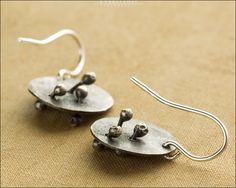 Hand Cut Oxidized Sterling Silver Earrings - Jewelry by Jason Stroud.