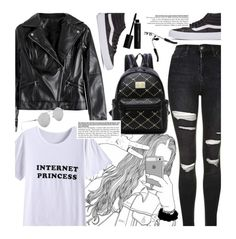 """Black and White Edgy School Style"" by beebeely-look ❤ liked on Polyvore featuring Topshop, Vans, Elizabeth Arden, BackToSchool, blackandwhite, schoolstyle, sammydress and blackdenim"