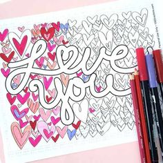 Love You Coloring Page designed by Jen Goode