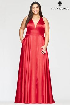 Faviana 9495 Long Formal Halter Plus Size Prom Gown | The Dress Outlet Plus Size Formal Dresses, Plus Size Gowns, Formal Gowns, Long Dresses, Faviana Dresses, One Shoulder Prom Dress, Prom Dresses With Pockets, A Line Gown, Prom Dresses Online