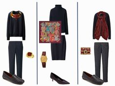 A capsule wardrobe of Navy Outfits with Accessories in Rose, Amethyst and Marsala