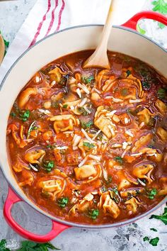 Italian Sausage Tomato Tortellini Soup makes the best comforting & hearty meal on a chilly day. It's so easy to make & perfect for those busy weeknights.