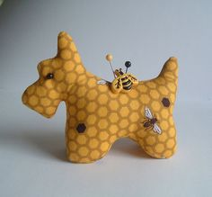 Sweet Scottie Dog Pincushion with Honey Bees by BluebirdMountain, $17.50