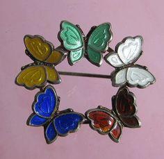 Vintage Sterling Enamel Denmark Meka Butterflies Brooch Pin, $95.00