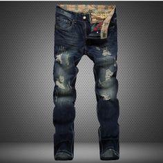 HOT fashion jeans men ripped distressed destroyed hip hop rock mens denim pants