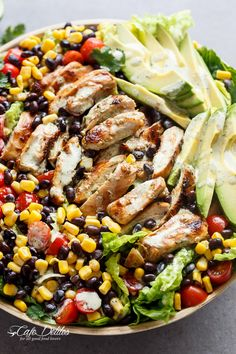 Southwestern Chicken Salad With A Low Fat Creamy Dressing - Cafe Delites Southwestern Chicken Salads, Southwest Salad, Southwestern Ranch, Diet Recipes, Cooking Recipes, Healthy Recipes, Healthy Low Fat Meals, Low Fat Soups, Low Fat Snacks
