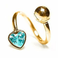 "Aqua Marine - 14G 3/8"" Heart Solid 14K Yellow Gold Twister / Spiral Barbell- (March) FreshTrends. $85.99"